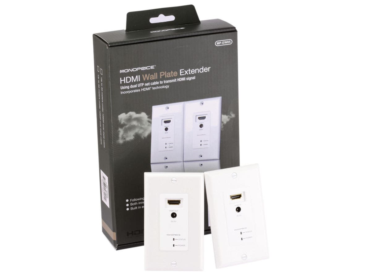 Monoprice HDMI Over Cat5e/Cat6 Extender Wall Plate with LED Indicator (Pair), Single Port (1P), White-Large-Image-1