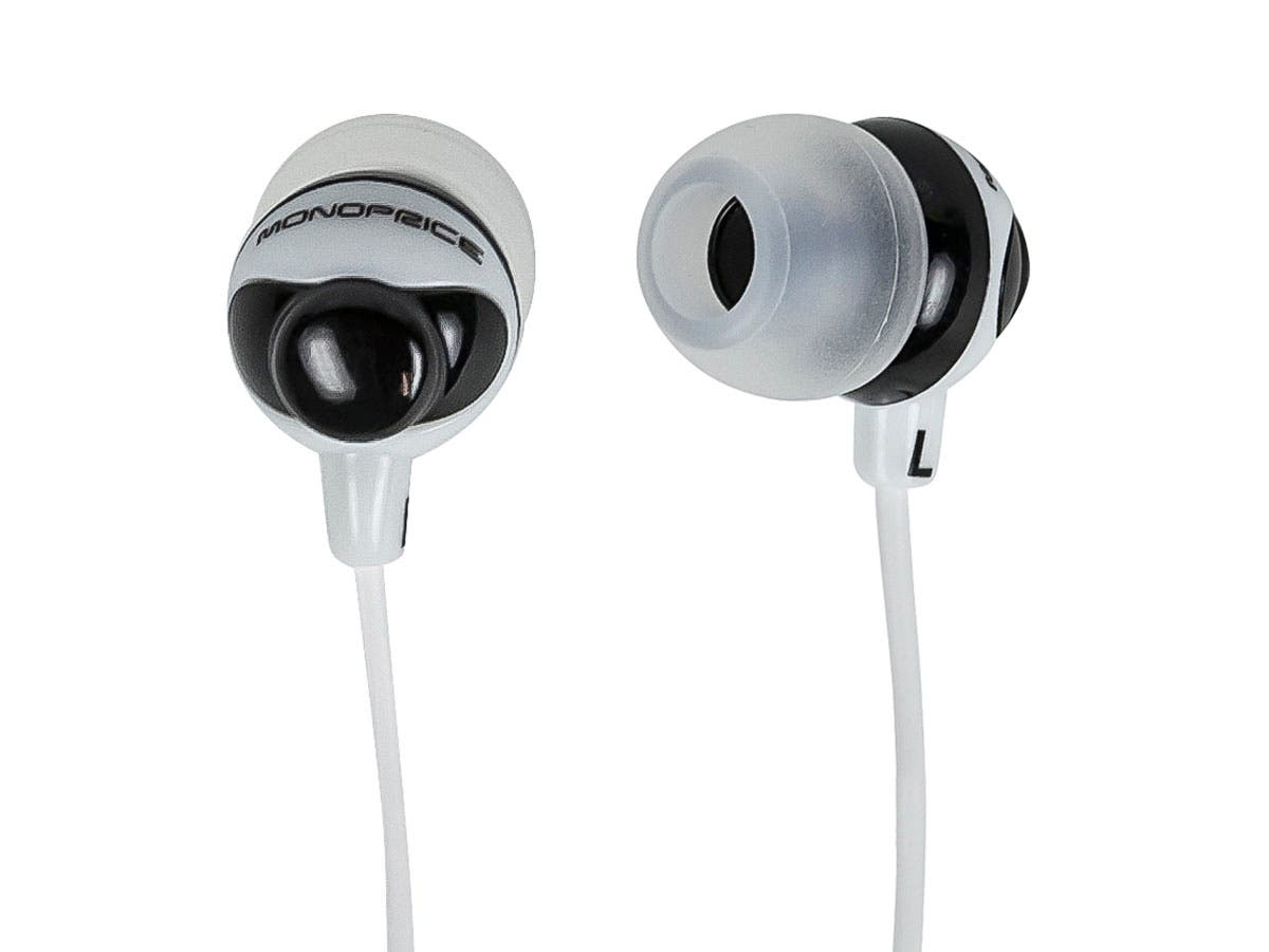 Monoprice Button Design Noise Isolating Earbuds Headphones - Black & White-Large-Image-1