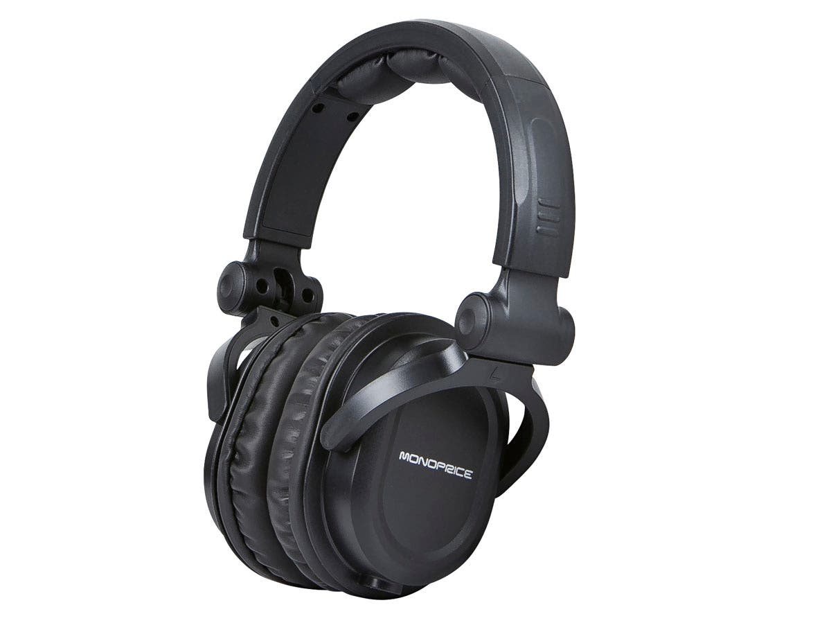 Monoprice Premium Hi-Fi DJ Style Over-the-Ear Pro Headphones with Mic-Large-Image-1