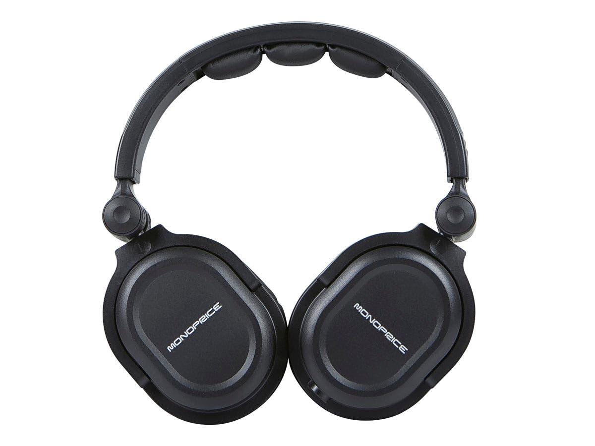 monoprice premium hi fi dj style over the ear pro headphones with microphone ebay. Black Bedroom Furniture Sets. Home Design Ideas