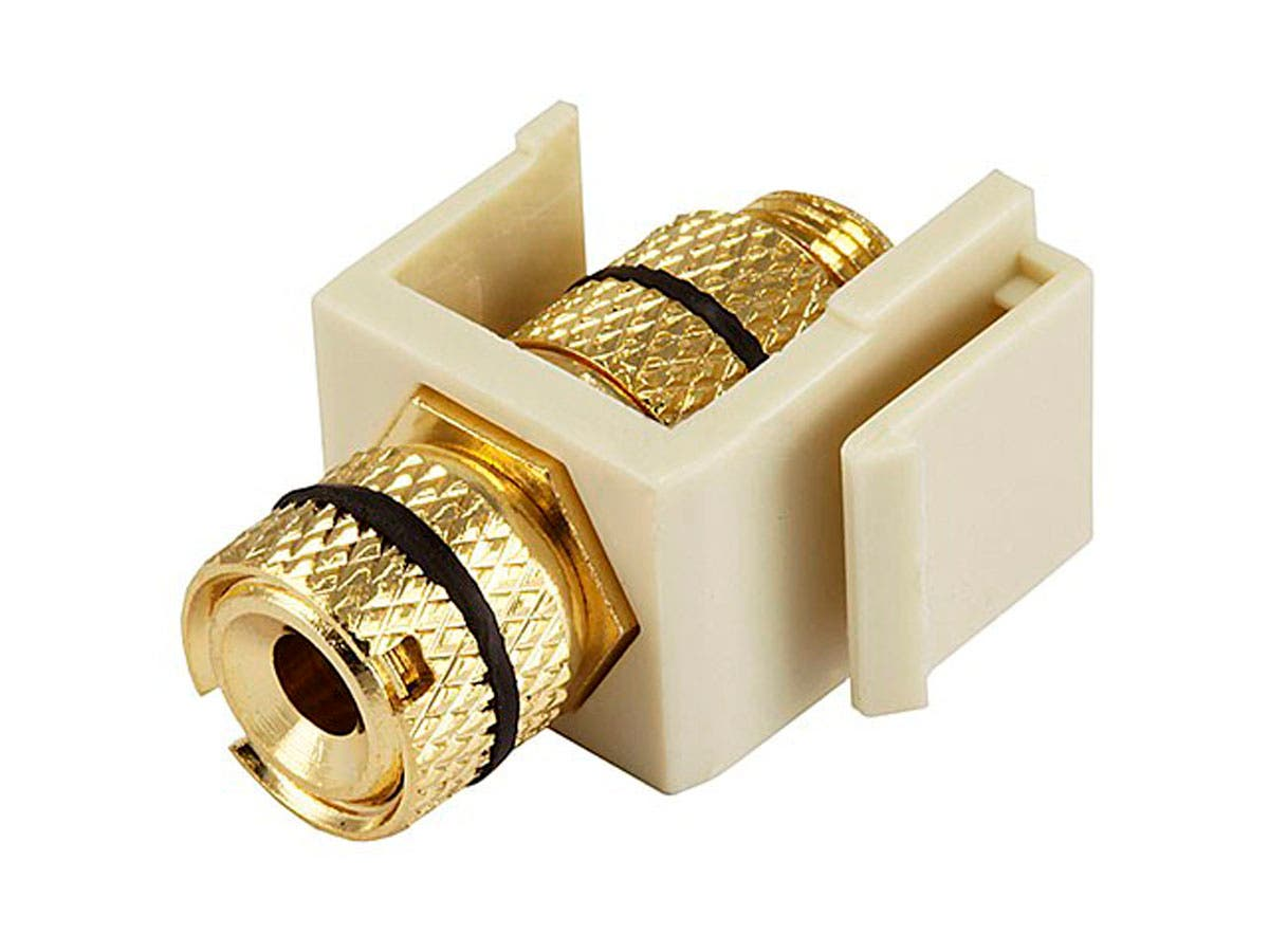 Keystone Jack - Banana Jack w/Black Ring (Screw Type) - Ivory