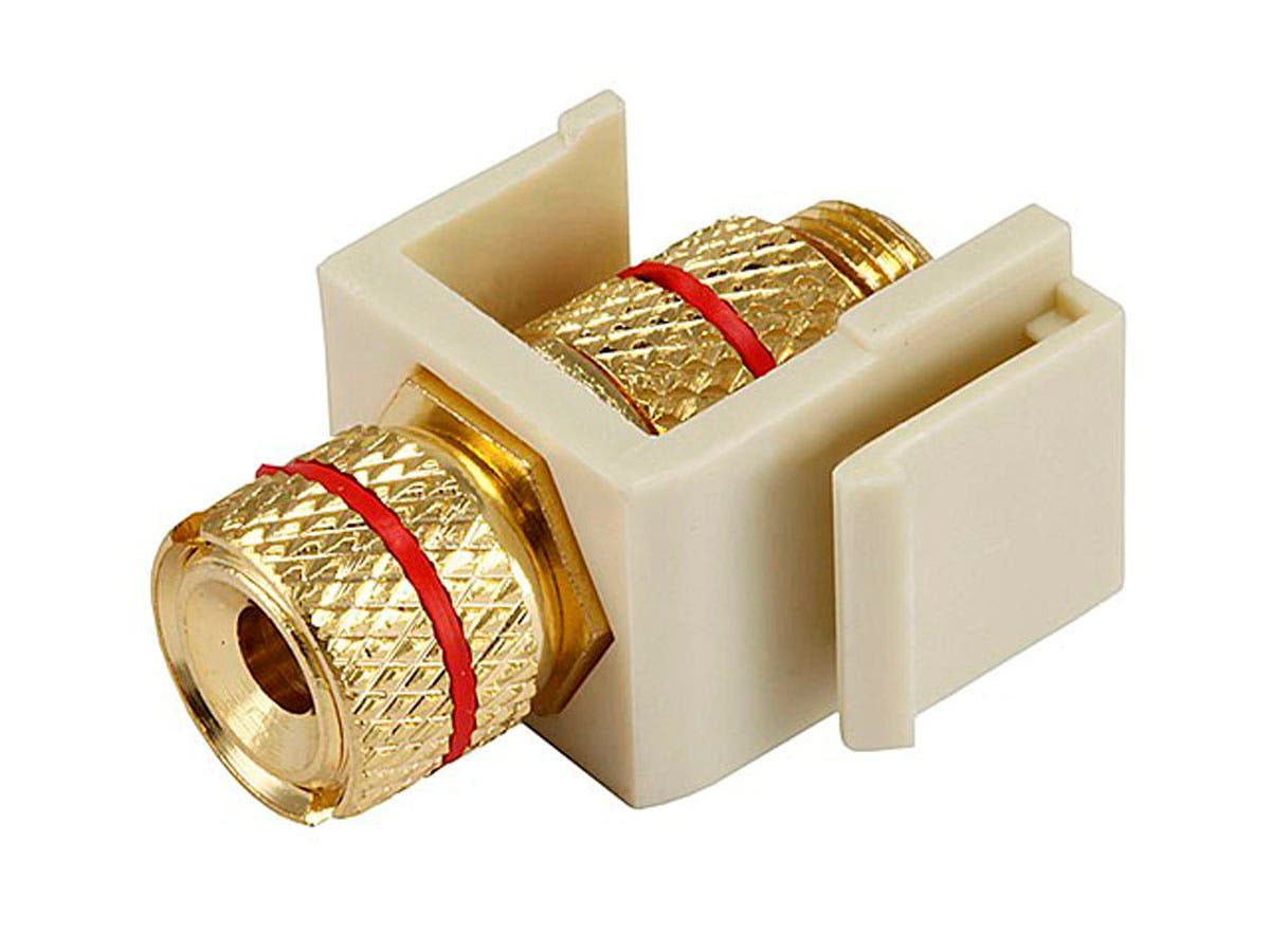 Keystone Jack - Banana Jack w/Red Ring (Screw Type) - Ivory