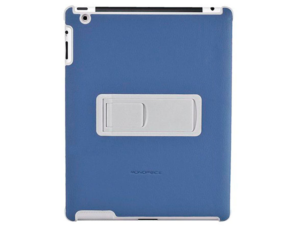 Polycarbonate and Synthetic Leather Stand Case for iPad 2, Blue