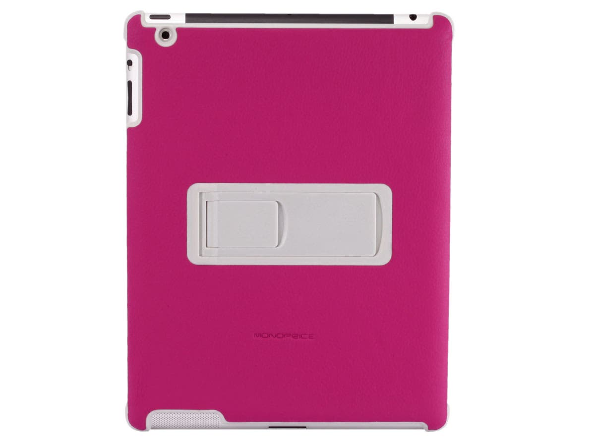 Polycarbonate and Synthetic Leather Stand Case for iPad 2, Pink