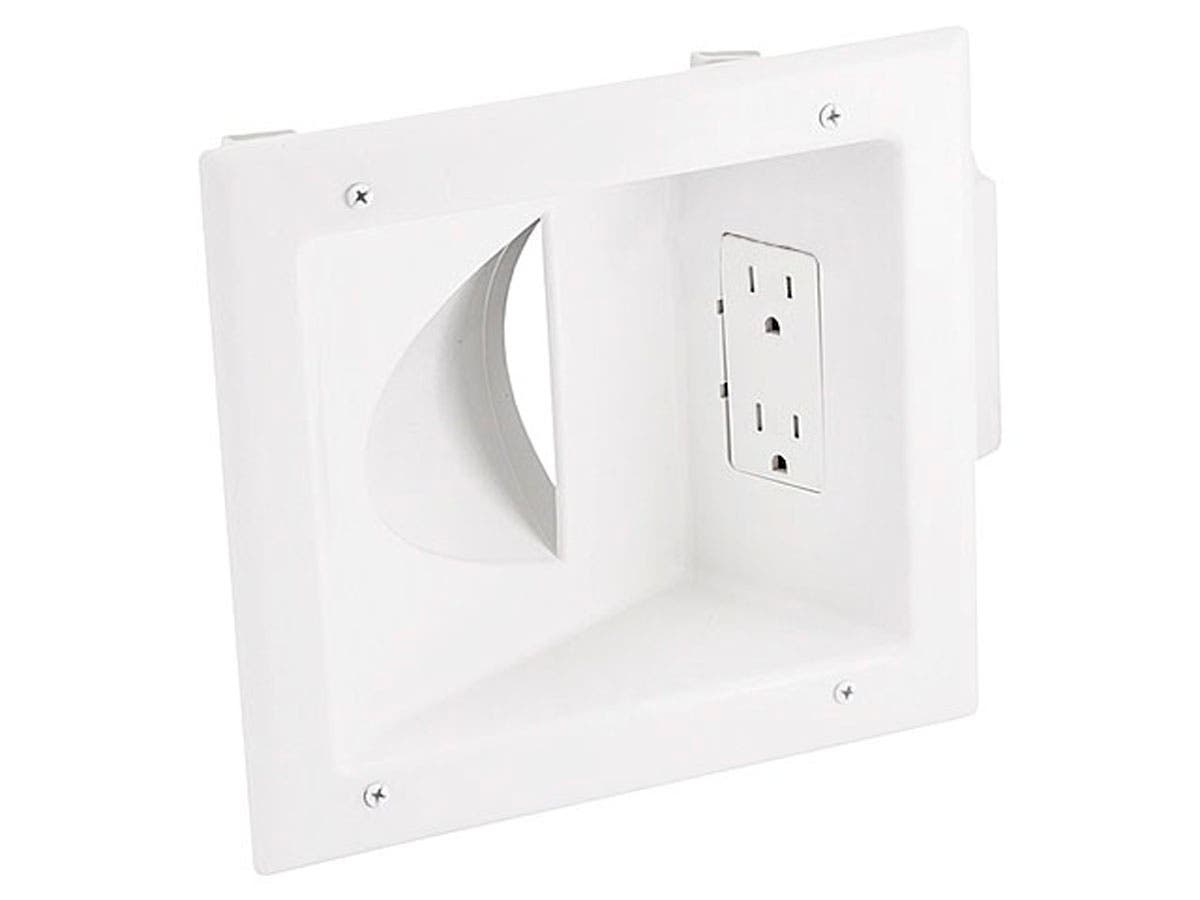 Recessed Low Voltage Media Wall Plate w/ Duplex Receptacle - White