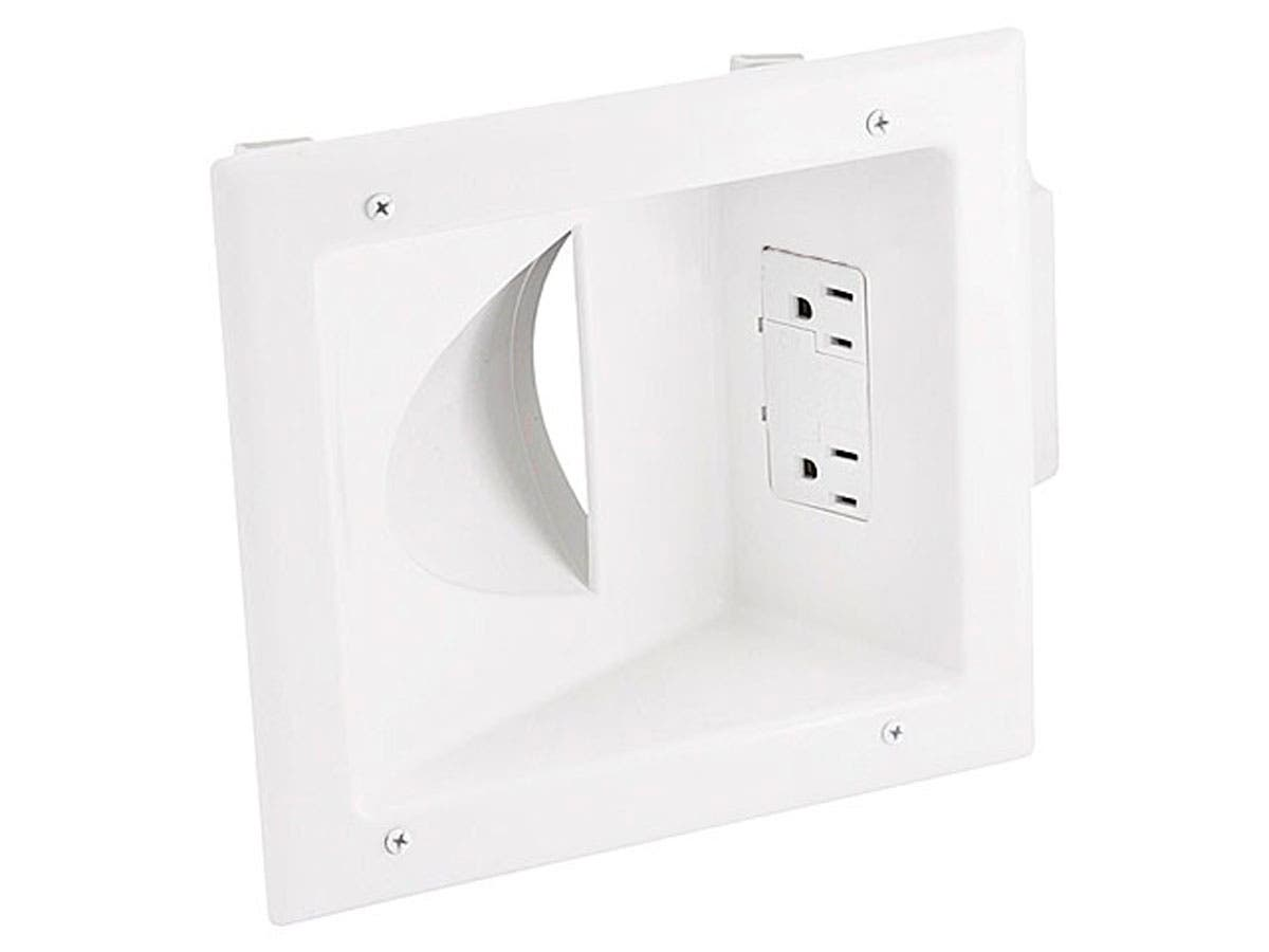 Recessed Low Voltage Media Plate w/ Duplex Surge Suppressor - White