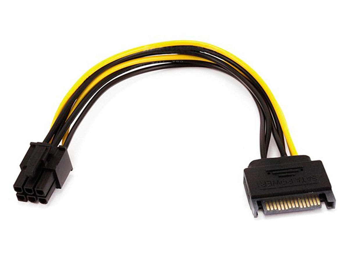 Monoprice 8inch SATA 15pin to 6pin PCI Express Card Power Cable-Large-Image-