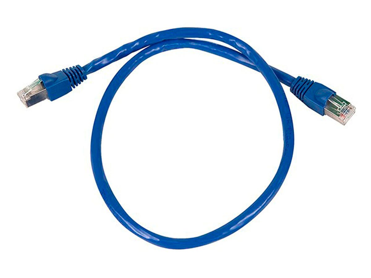 Cat6A 26AWG STP Ethernet Network Patch Cable, 10G, 2ft Blue