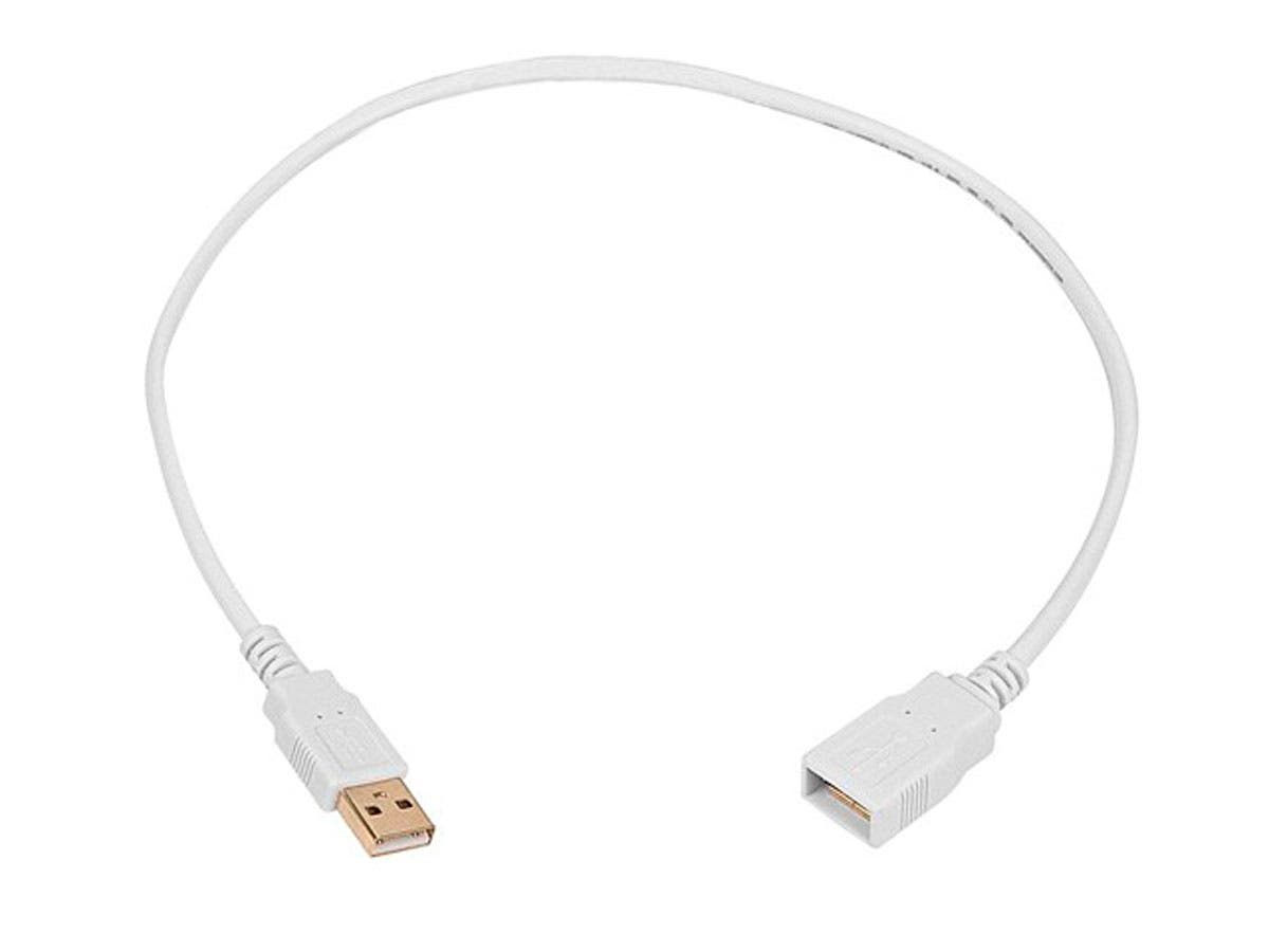 1.5ft USB 2.0 A Male to A Female Extension 28/24AWG Cable (Gold Plated) - WHITE