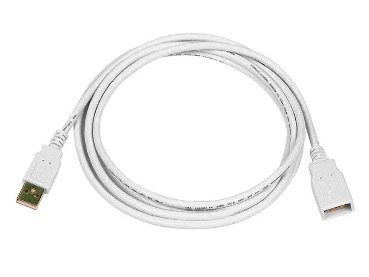 6ft USB 2.0 A Male to A Female Extension 28/24AWG Cable (Gold Plated) - WHITE