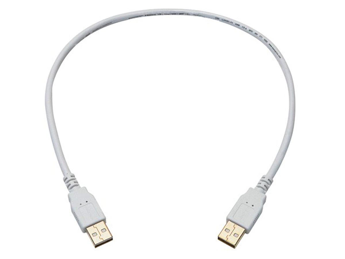 1.5ft USB 2.0 A Male to A Male 28/24AWG Cable (Gold Plated) - WHITE