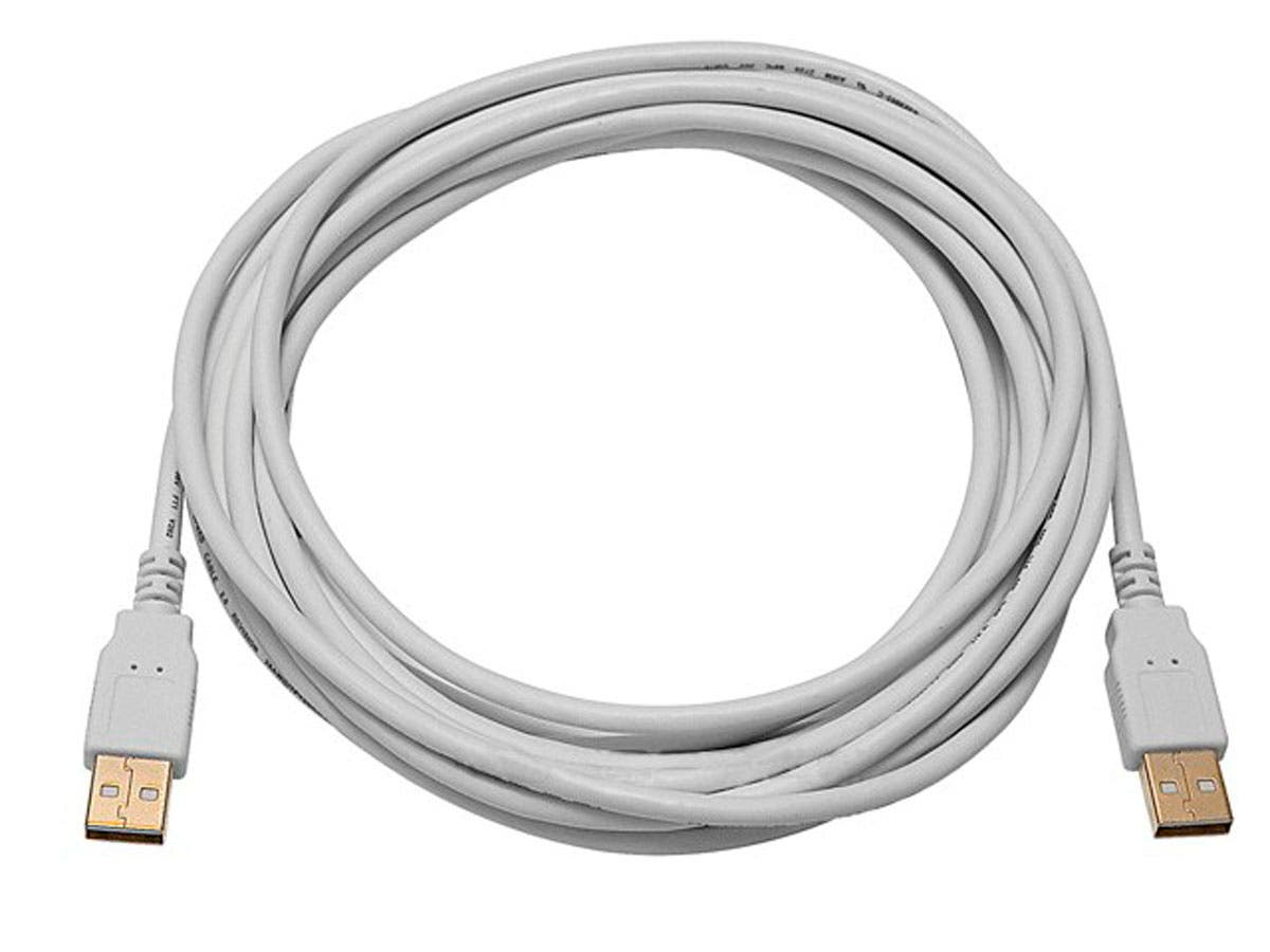 15ft USB 2.0 A Male to A Male 28/24AWG Cable (Gold Plated) - WHITE