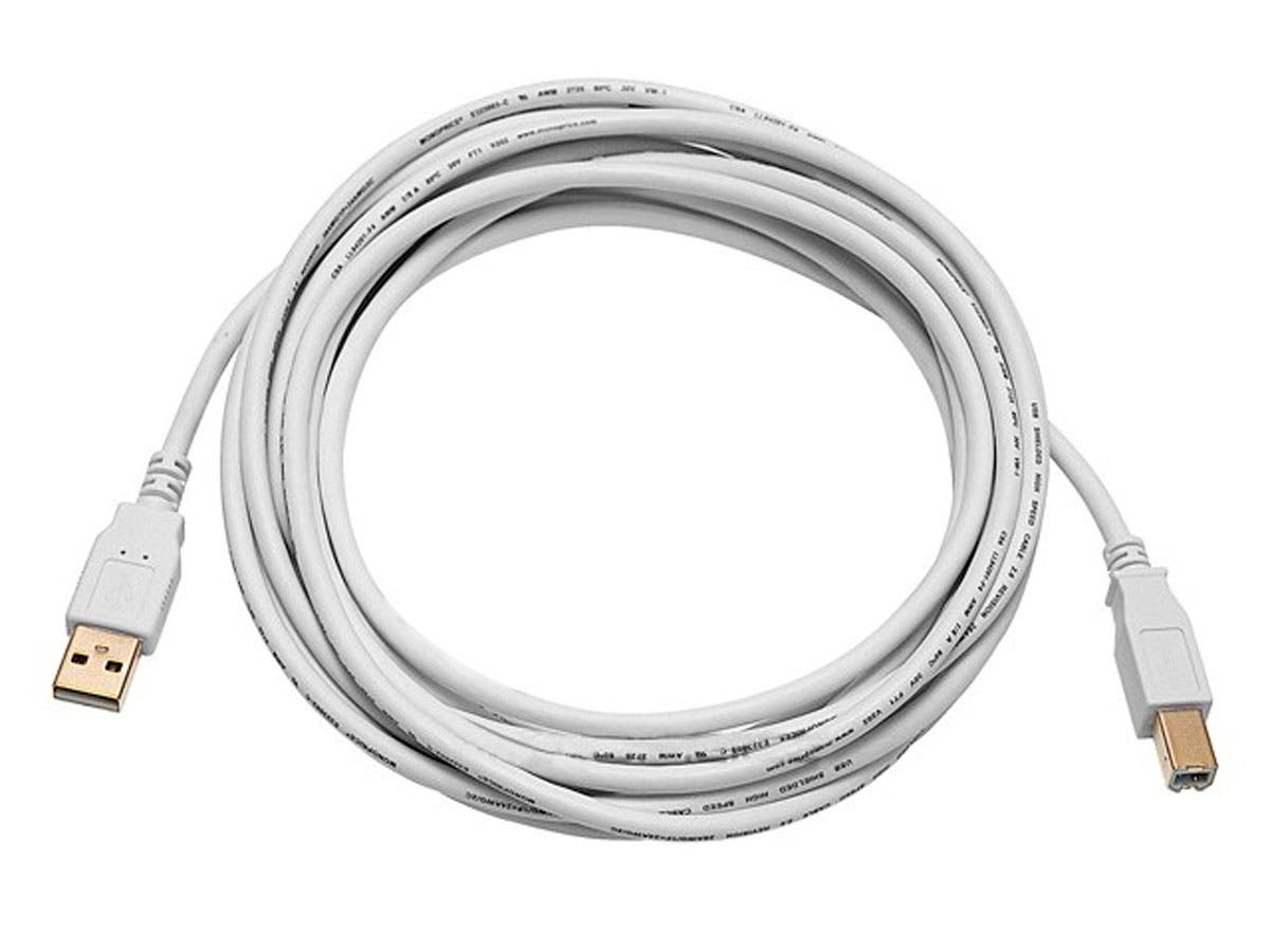 15ft USB 2.0 A Male to B Male 28/24AWG Cable (Gold Plated) - WHITE