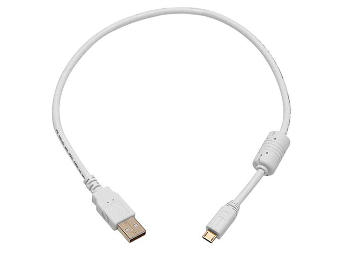 1.5ft USB 2.0 A Male to Micro 5pin Male 28/24AWG Cable w/ Ferrite Core (Gold Plated) - WHITE