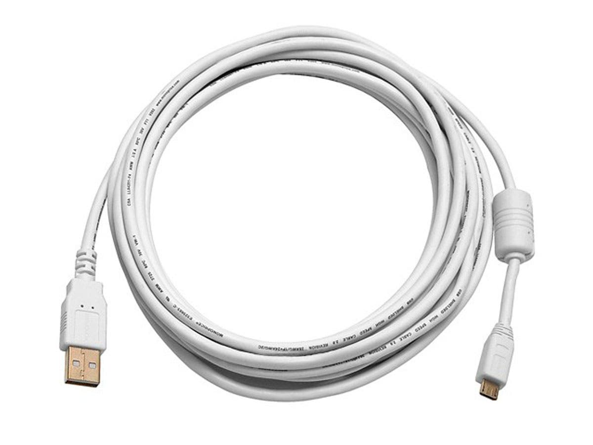 15ft USB 2.0 A Male to Micro 5pin Male 28/24AWG Cable w/ Ferrite Core (Gold Plated) - WHITE