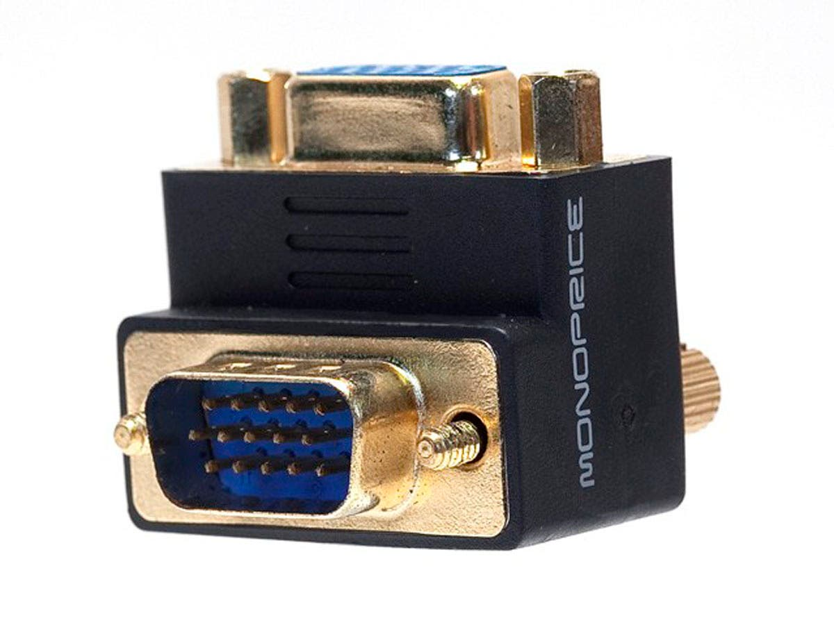 VGA Coupler (Female to Male) - 90 Degree (Gold Plated)-Large-Image-1