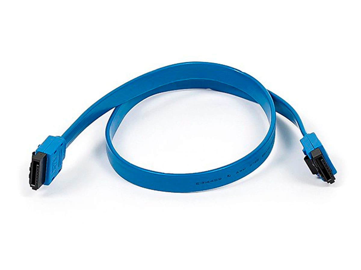Monoprice 18inch SATA 6Gbps Cable w/Locking Latch - Blue-Large-Image-1