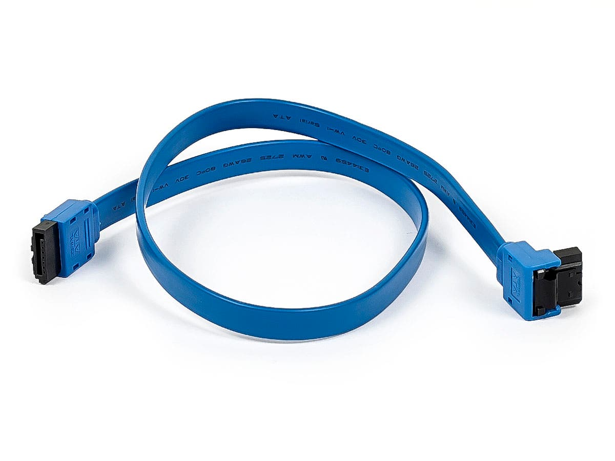 Monoprice 18in SATA 6Gbps Cable with Locking Latch (90-degree to 180-degree), Blue-Large-Image-1