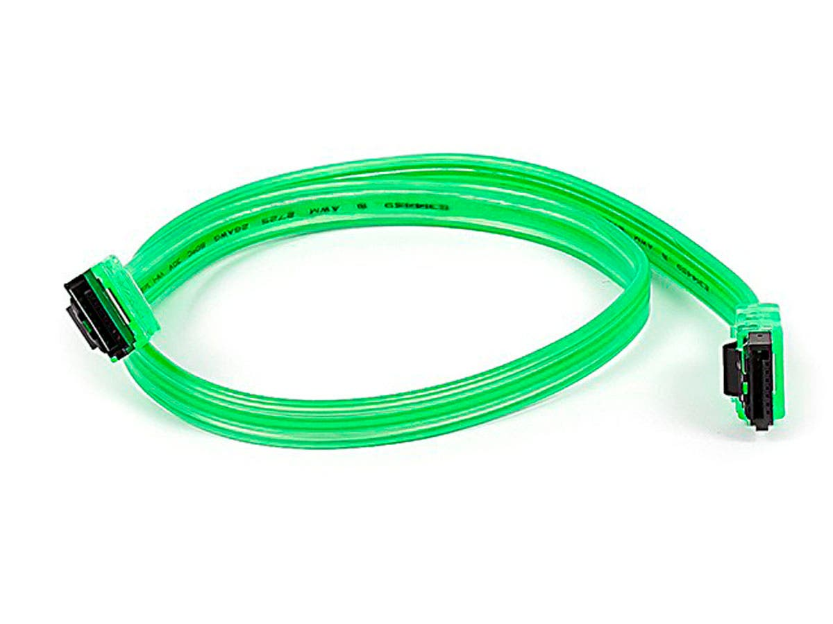 Monoprice 18inch SATA 6Gbps Cable w/Locking Latch - UV Green-Large-Image-1