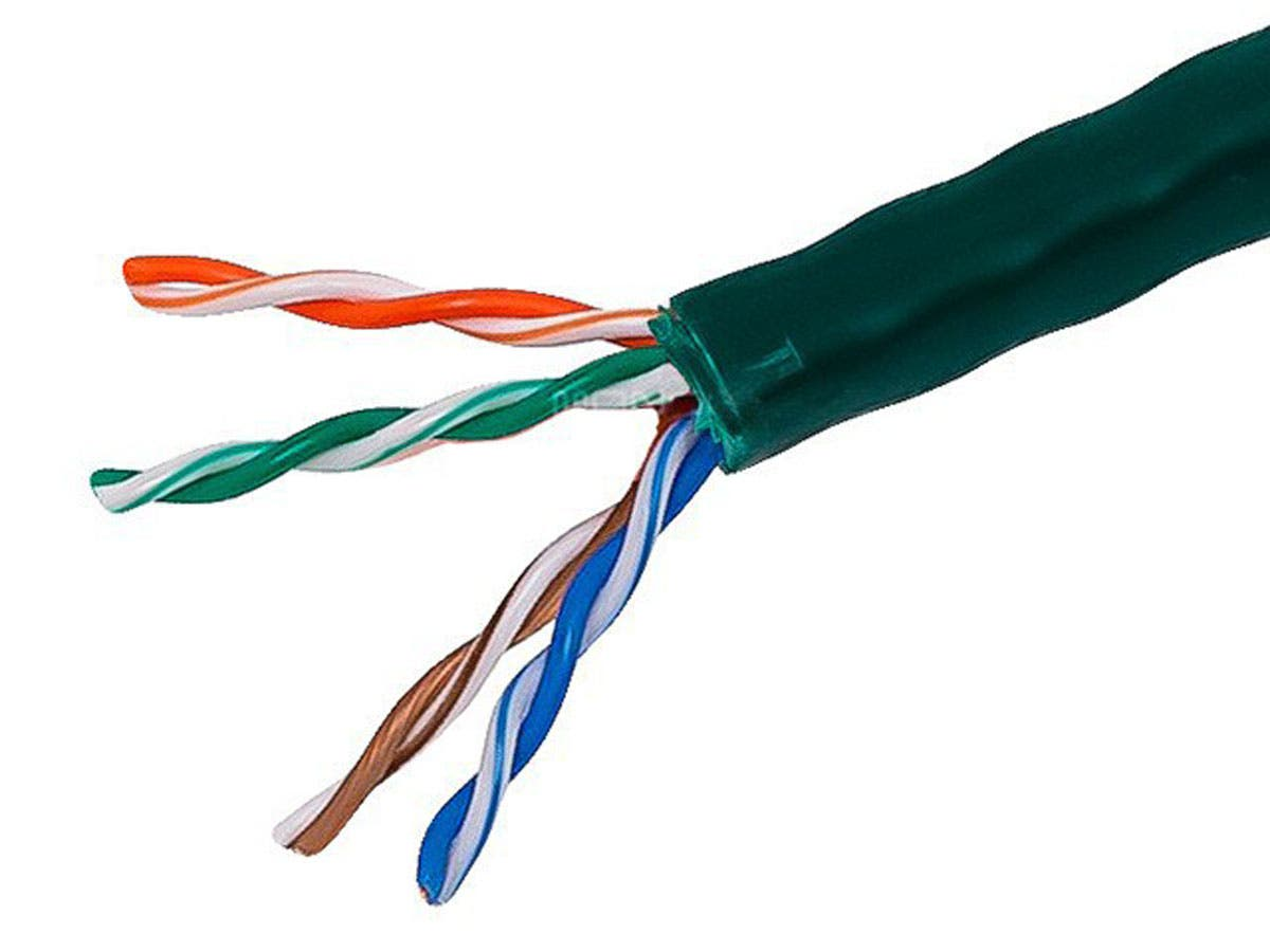 1000FT Cat5e Bulk Bare Copper Ethernet Network Cable UTP, Solid, Riser Rated (CMR), 350MHz, 24AWG, Green (No Logo version of this cable is PID#12759)