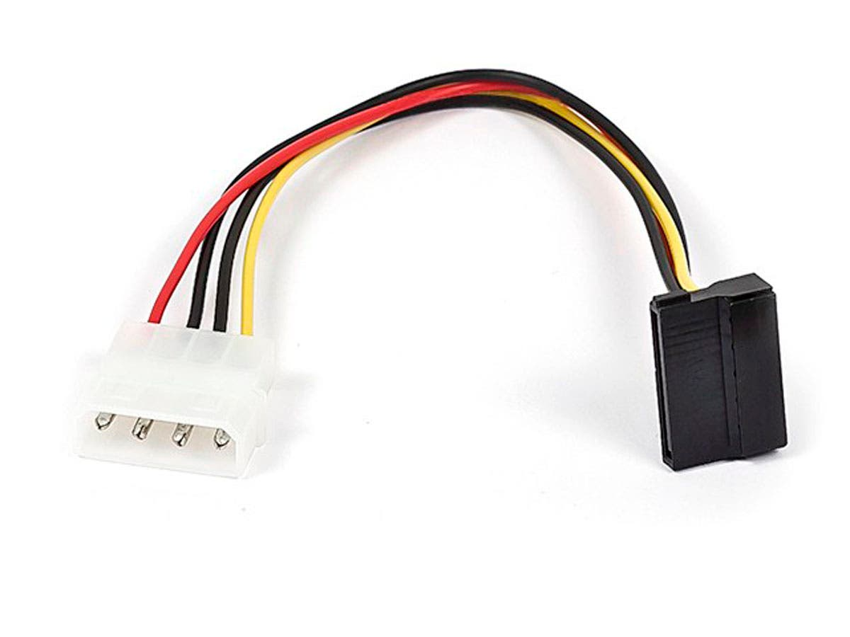 Monoprice 8inch SATA 15pin Female to Molex 4pin Male Power Adapter (90 Degree)-Large-Image-1