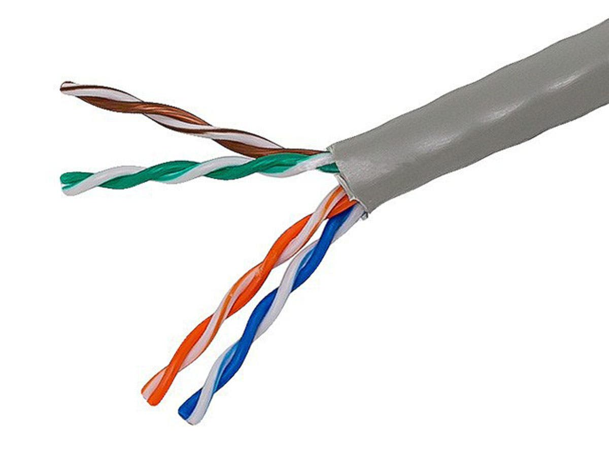 1000FT Cat5e Bulk Bare Copper Ethernet Network Cable UTP, Stranded, In-Wall Rated (CM), 350MHz, 24AWG, Gray