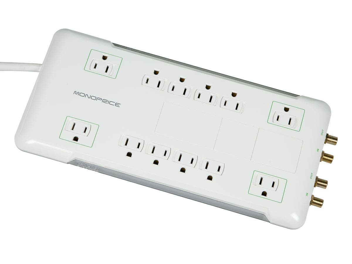 12 Outlet Power Surge Protector w/ Coax Protection - 3420 Joules -Large-Image-1