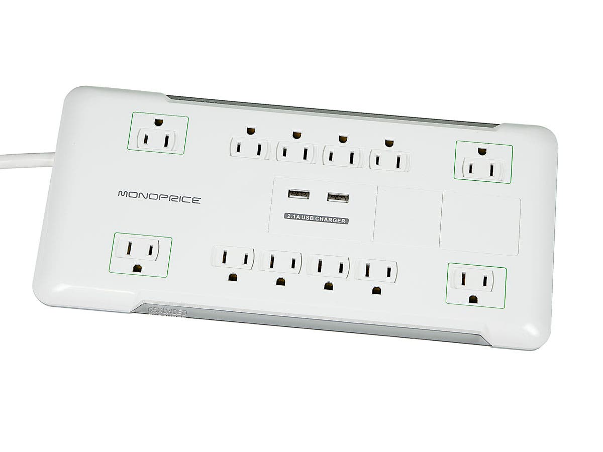 Monoprice 12 Outlet Power Surge Protector w/ 2 Built-In USB Charger Ports - 4230 Joules-Large-Image-1