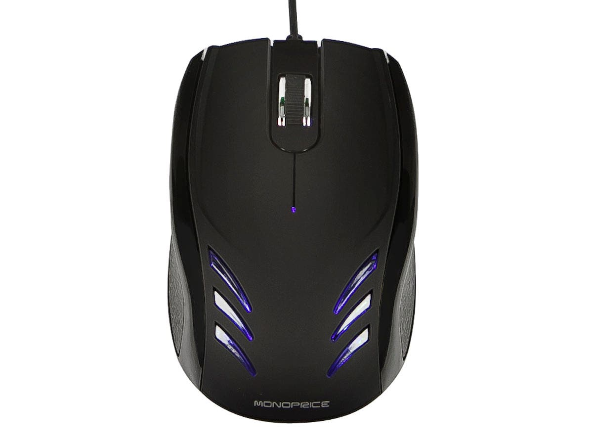 Monoprice Blu Streak 3-Button Optical Mouse - Black-Large-Image-1