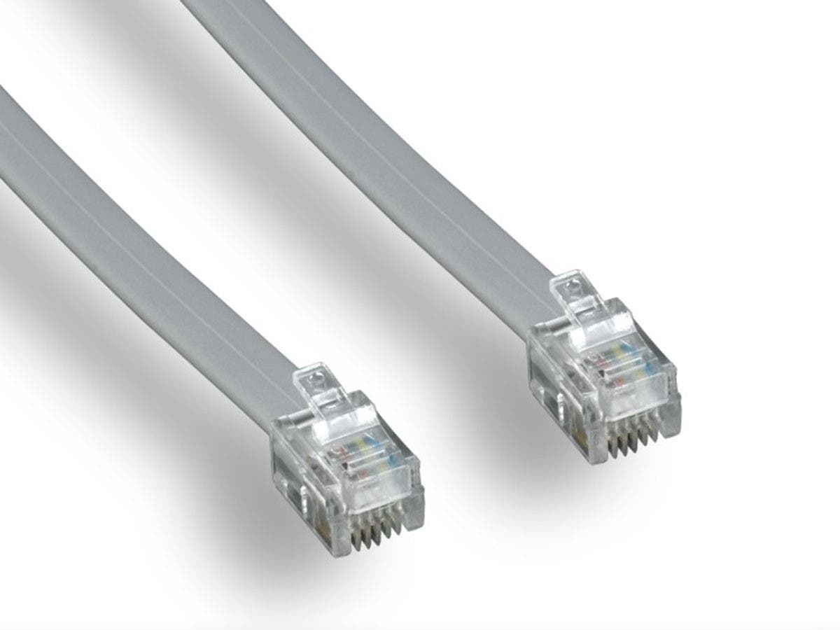 Phone Cable, RJ11 (6P4C), Straight -  7ft for data