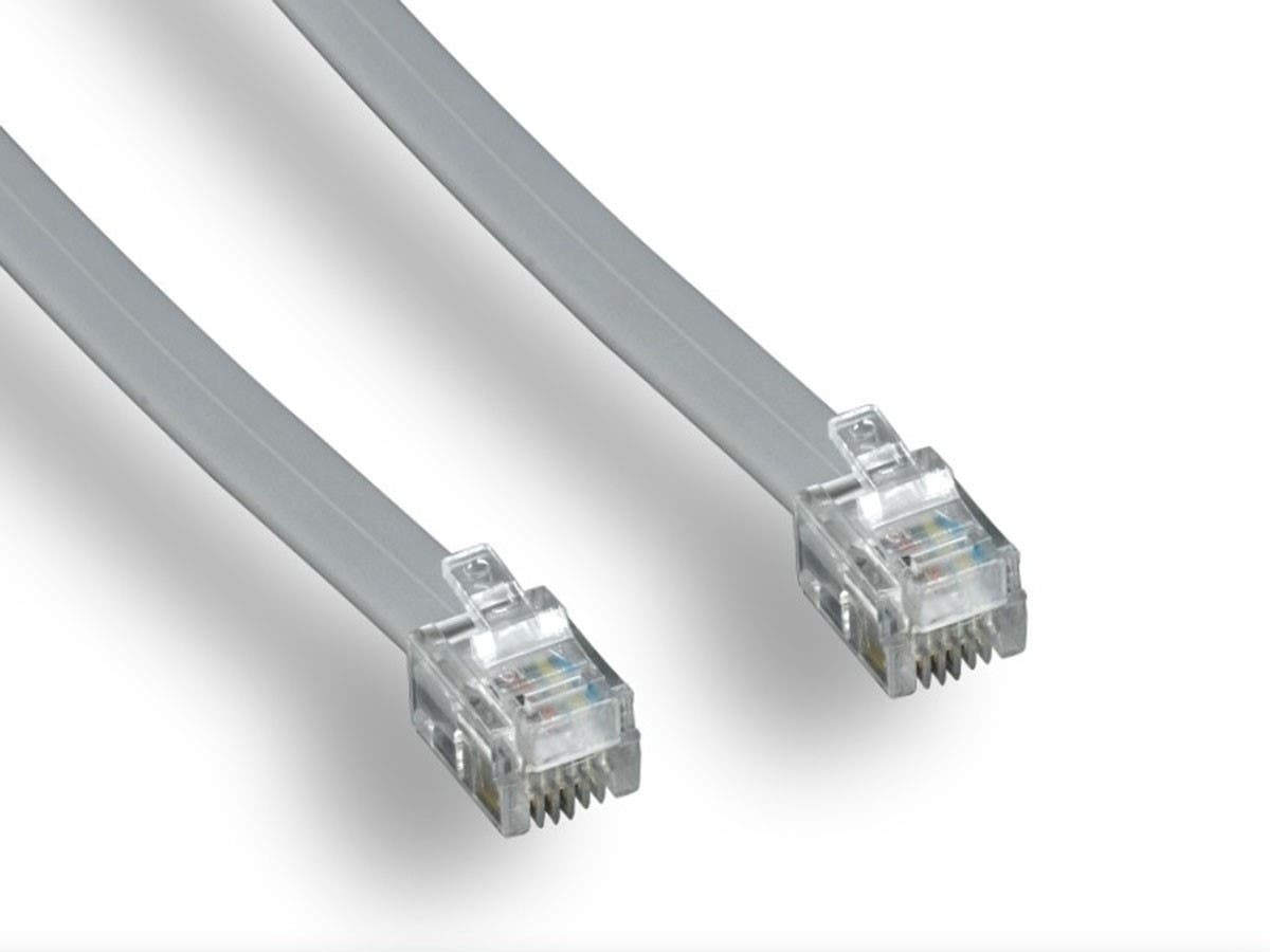 Phone cable, RJ12 (6P6C), Straight -  7ft for Data