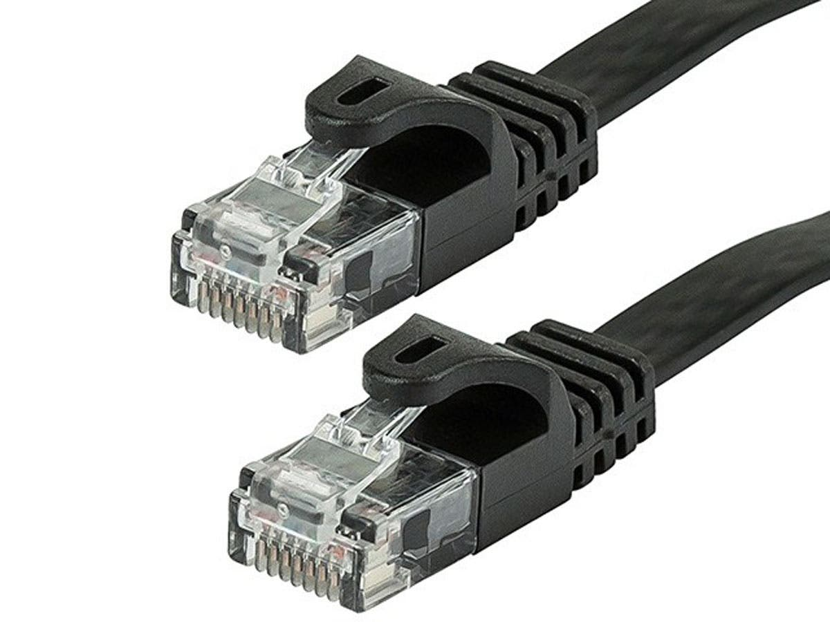Cat5e 30AWG UTP Flat Ethernet Network Patch Cable, 1ft Black