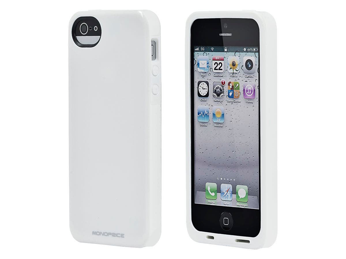 Monoprice Sure Fit PC+TPU Case for iPhone® 5/5s/SE - Gloss White-Large-Image-1