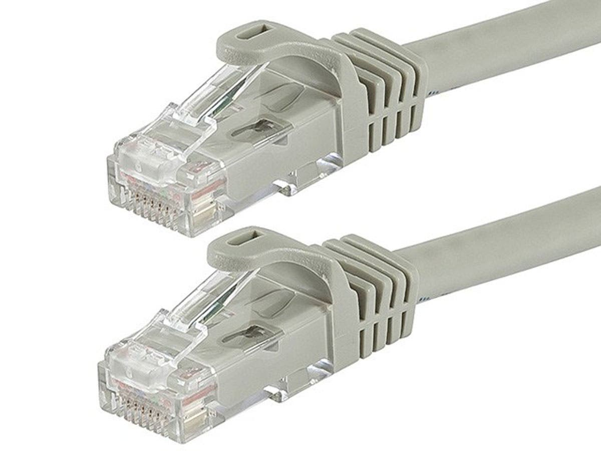 Monoprice Flexboot Cat6 Ethernet Patch Cable - Snagless RJ45, Stranded, 550Mhz, UTP, Pure Bare Copper Wire, 24AWG, 14ft, Gray-Large-Image-1