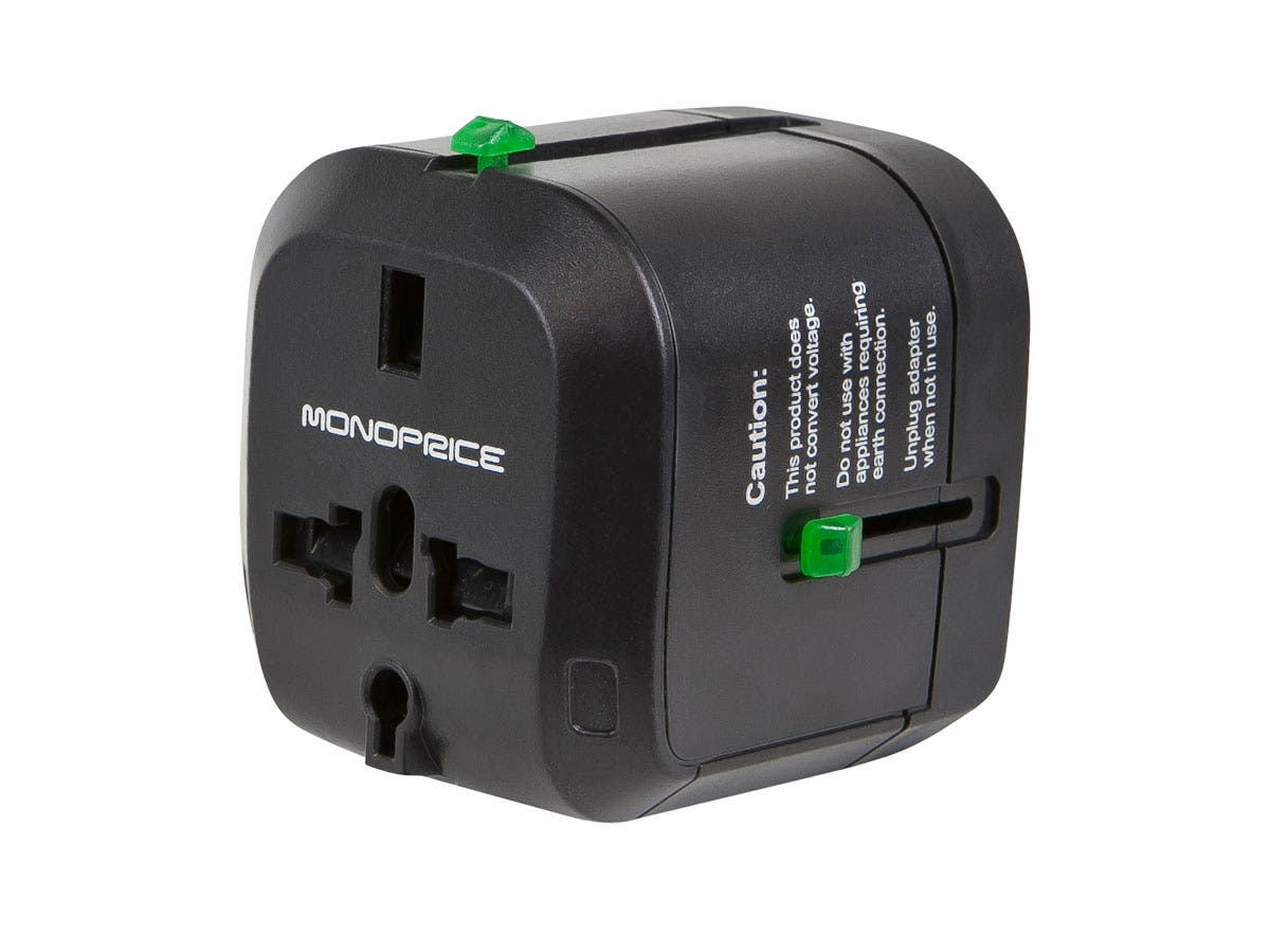 Compact Cube Universal Travel Adapter - Black