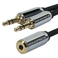 Monoprice Designed for Mobile 6inch 3.5mm Stereo Jack Splitter