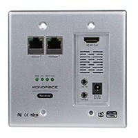 HDBaseT Wall Plate Receiver with Bidirectional IR Repeater, 100m (328ft)