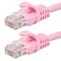 Monoprice Flexboot Cat5e Ethernet Patch Cable - Snagless RJ45, Stranded, 350Mhz, UTP, Pure Bare Copper Wire, 24AWG, 0.5ft, Pink