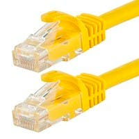 Monoprice FLEXboot Cat5e Ethernet Patch Cable - Snagless RJ45, Stranded, 350MHz, UTP, Pure Bare Copper Wire, 24AWG, 14ft, Yellow