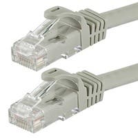 Monoprice FLEXboot Cat5e Ethernet Patch Cable - Snagless RJ45, Stranded, 350MHz, UTP, Pure Bare Copper Wire, 24AWG, 2ft, Gray