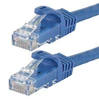 Monoprice Flexboot Cat5e Ethernet Patch Cable - Snagless RJ45, Stranded, 350Mhz, UTP, Pure Bare Copper Wire, 24AWG, 7ft, Blue