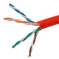 Monoprice Cat5e Ethernet Bulk Cable - Solid, 350Mhz, UTP, CMR, Riser Rated, Pure Bare Copper Wire, 24AWG, No Logo, 1000ft, Red