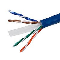 Monoprice Cat6 Ethernet Bulk Cable - Stranded, 550Mhz, UTP, CM, Pure Bare Copper Wire, 24AWG, No Logo, 1000ft, Blue