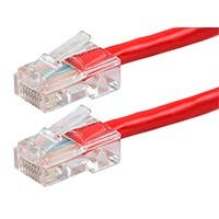 Monoprice Zeroboot Cat5e Ethernet Patch Cable, RJ45, Stranded, 350MHz, UTP, Pure Bare Copper Wire, 24AWG, 10ft, Red