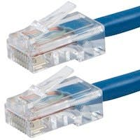 Monoprice Zeroboot Cat5e Ethernet Patch Cable - RJ45, Stranded, 350Mhz, UTP, Pure Bare Copper Wire, 24AWG, 5ft, Blue