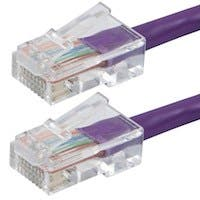 Monoprice Zeroboot Cat5e Ethernet Patch Cable - RJ45, Stranded, 350Mhz, UTP, Pure Bare Copper Wire, 24AWG, 7ft, Purple