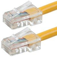 Monoprice Zeroboot Cat5e Ethernet Patch Cable - RJ45, Stranded, 350Mhz, UTP, Pure Bare Copper Wire, 24AWG, 75ft, Yellow