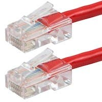 Monoprice Zeroboot Cat5e Ethernet Patch Cable - RJ45, Stranded, 350Mhz, UTP, Pure Bare Copper Wire, 24AWG, 100ft, Red