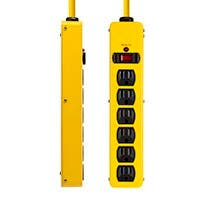 6 Outlet Power Strip, 540 Joules, Metal with 6ft Cord (Yellow)