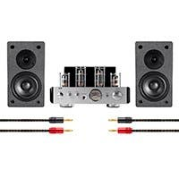 Monoprice 25 Watt Stereo Hybrid Tube Amplifier with Bluetooth and 4-inch Select Speakers Bundle